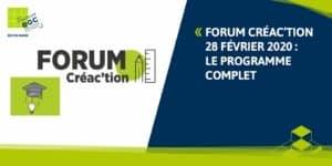 FORUM CREA'CTION 2020 : le programme complet